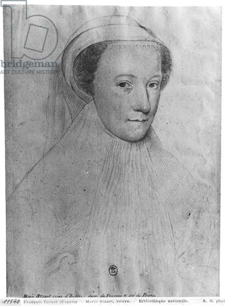 Mary, Queen of Scots (1542-87) in white mourning, 1560 (pen & ink on paper) (b/w photo)