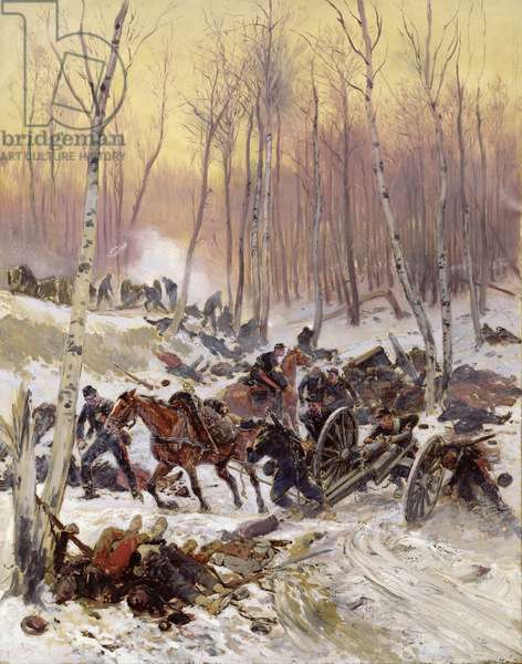 Artillery Combat in a Wood during the Siege of Paris, 1870-71 (oil on canvas)