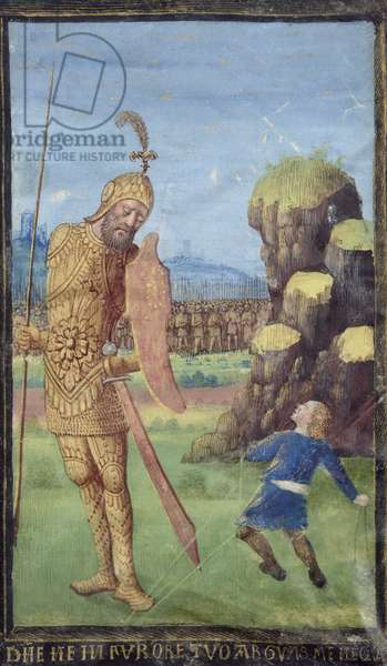 David and Goliath, from a Book of Hours, c.1470 (vellum)