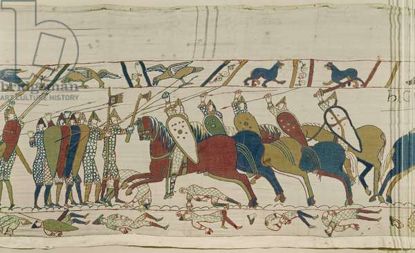 The English shield-wall is attacked and battle is joined, Bayeux Tapestry (wool embroidery on linen)