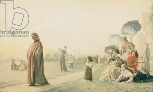 Dante (1265-1321) Meditating in the Cascine Garden, Florence (w/c on paper)