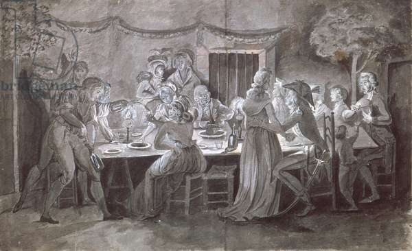 An Evening Wedding Meal (pen & ink and gouache on paper)