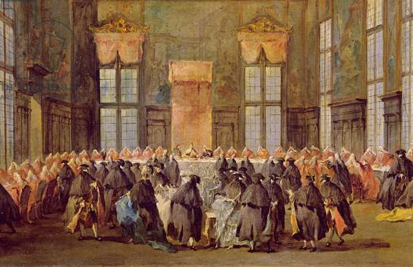 The Doge at the Feast for the Opening of the Carnival of Venice (oil on canvas)