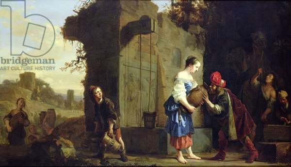 Eliezer and Rebecca at the Well, 1660 (oil on canvas)