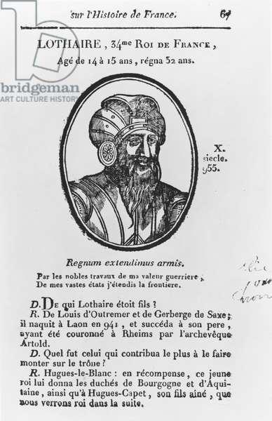 Lothair, Carolingian King of France (engraving)