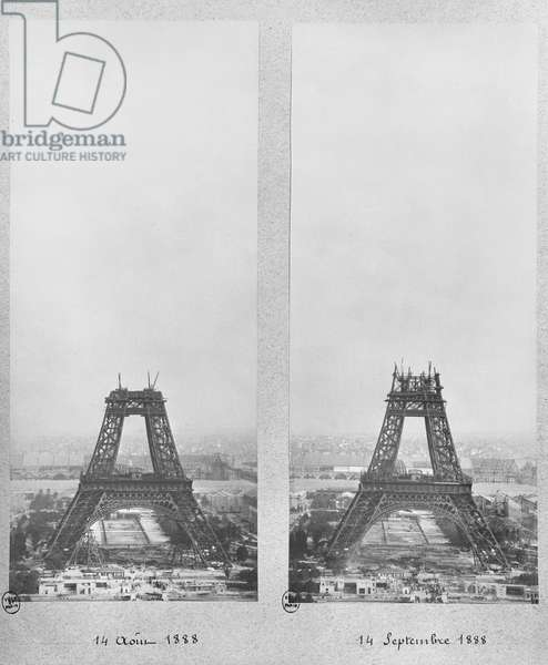Two views of the construction of the Eiffel Tower, Paris, 14th August and 14th September 1888 (b/w photo)