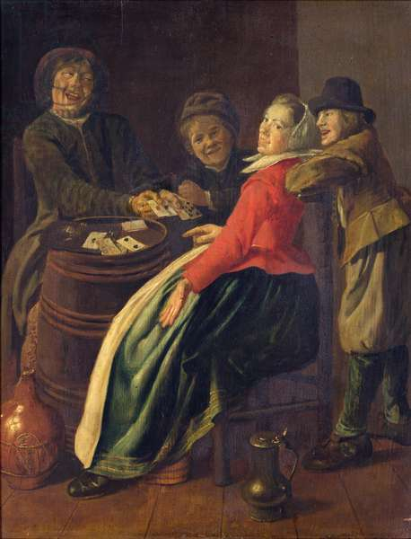 A Game of Cards (oil on canvas)