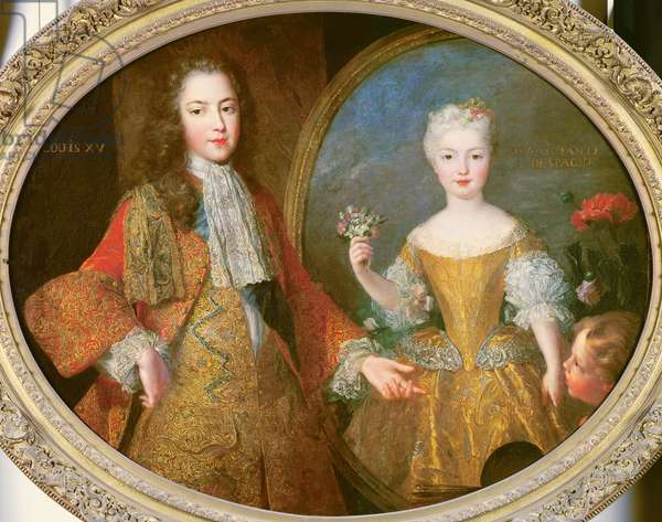 Louis XV (1710-74) and the Infanta of Spain, Maria Ana Victoria (1718-81) c.1724 (oil on canvas)