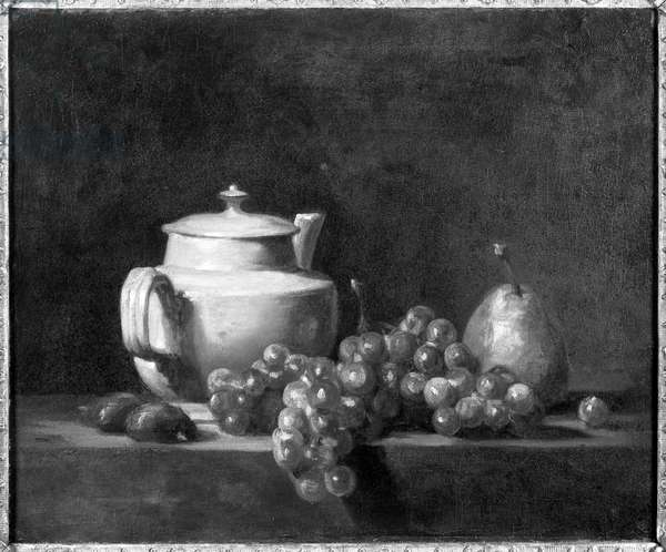 White Teapot with Two Chestnuts, White Grapes and a Pear (oil on canvas) (b/w photo)
