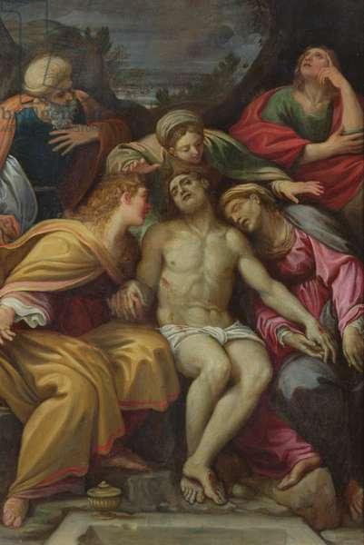Lamentation of Christ with St John, Mary Magdalene, Mary-Salomé, Joseph of Arimathea and the Virgin (oil on canvas)