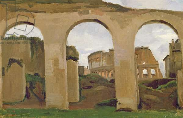 The Colosseum, seen through the Arcades of the Basilica of Constantine, 1825 (oil on paper)
