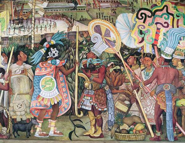 The Culture of Totonaken, detail of Totonac nobility trading with Aztec merchants, 1950 (mural)