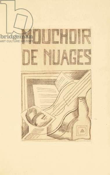 Title page for 'Mouchoir de Nuages' by Tristan Tzara (1896-1963) 1925 (etching)