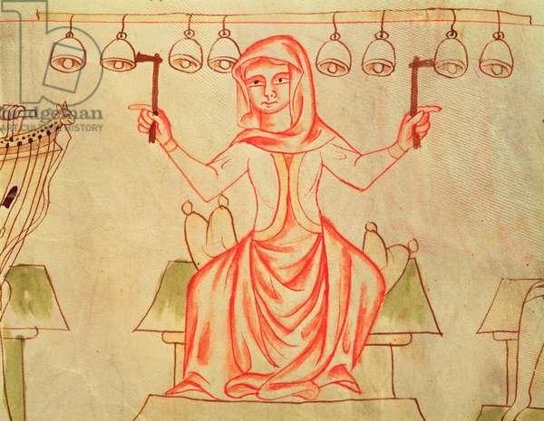 Mx XXIII C.124 Musician playing bells, from the Velislav Bible, c.1340 (vellum)