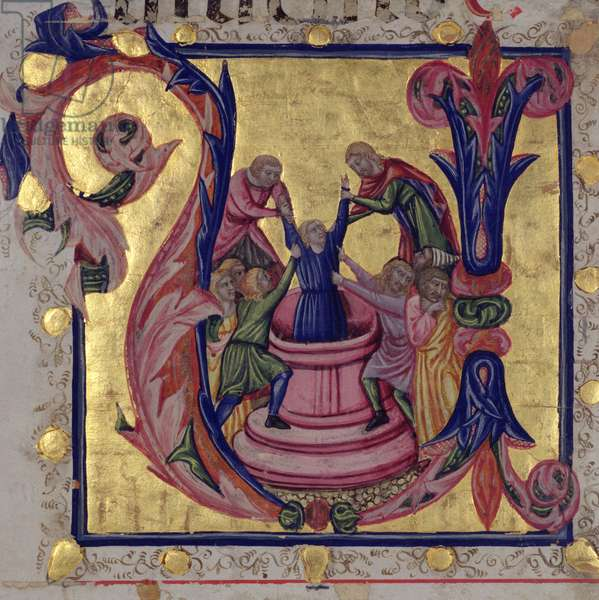 Historiated initial 'U' depicting Joseph being pulled from the well by his brothers, Tuscan School (vellum)
