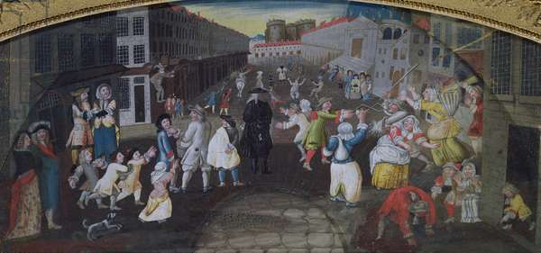 Street Performers at the Carnival Populaire, Rue Saint Antoine, c.1670 (oil on canvas)