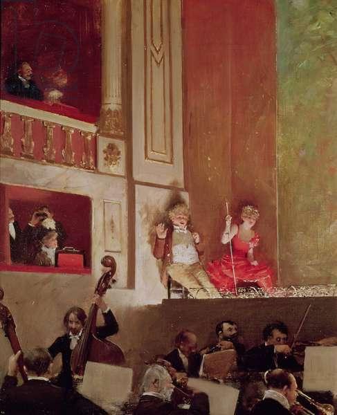 Revue at the Theatre des Varietes, c.1885 (oil on canvas)