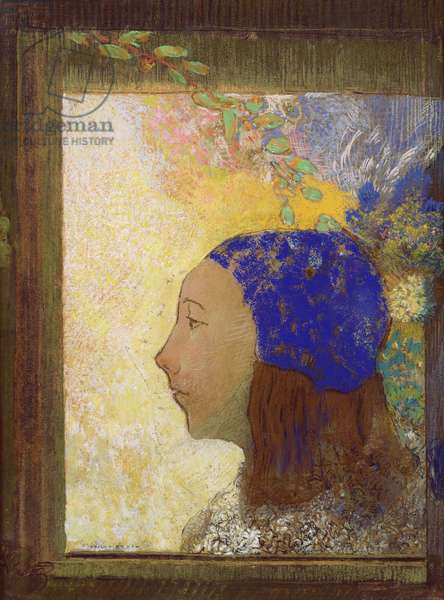 Young Girl in a Blue Bonnet, after 1890 (pastel on paper)