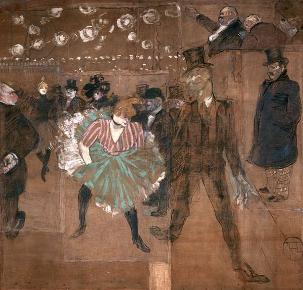 Dancing at the Moulin Rouge: La Goulue (1870-1927) and Valentin le Desosse (1843-1907) 1895 (oil on canvas)