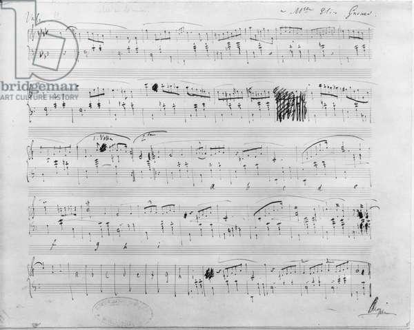 Ms.117, Waltz in F minor, Opus 70, Number 2, dedicated to Elise Gavard (pen & ink on paper) (b/w photo)
