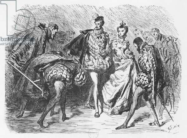King and court, illustration from the 'Essais' by Michel Eyquem de Montaigne (1533-92) (engraving) (b/w photo)