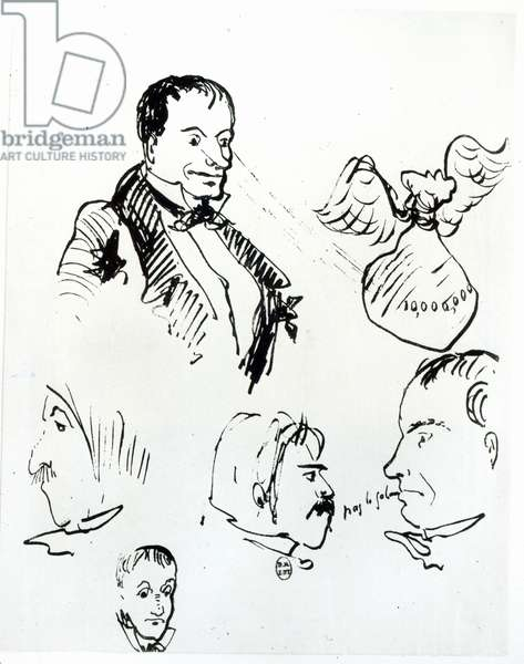 Three self portraits and profiles of Jules Champfleury (1821-89) and Charles Asselineau (1820-74) c.1857-58 (pen & ink on paper) (b/w photo)