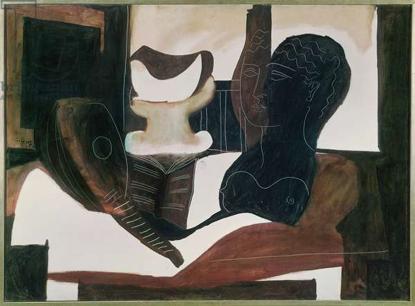 Still Life with an Antique Head, 1925 (oil on canvas)