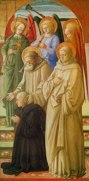 Triptych depicting the Coronation of the Virgin (right panel: the Dominican Saints, angel musicians and a Benedictine monk) (tempera on panel)