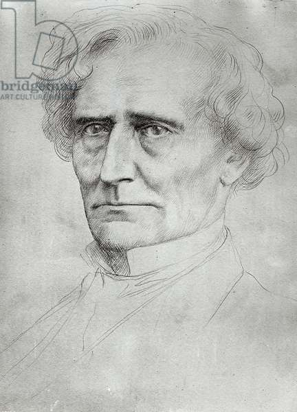 Portrait of Hector Berlioz (1803-69) (pen and ink on paper) (b/w photo)