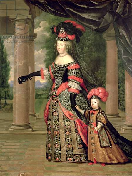 Maria Theresa, wife of Louis XIV, with her son the Dauphin Louis of France, after 1661 (oil on canvas)