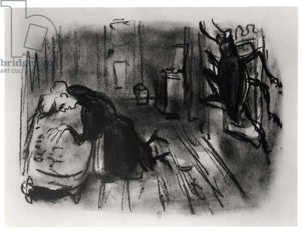 Illustration for 'The Metamorphosis' by Franz Kafka (1885-1924) 1946 (litho) (b/w photo)