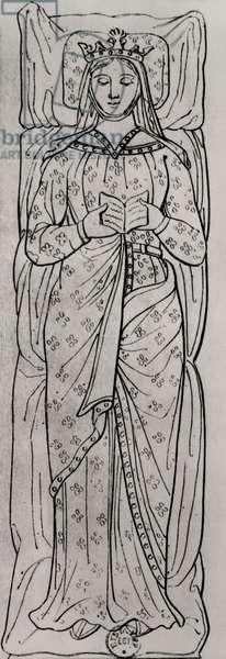 The Recumbant Eleanor of Aquitaine (c.1122-1204) (engraving) (detail of 158139)