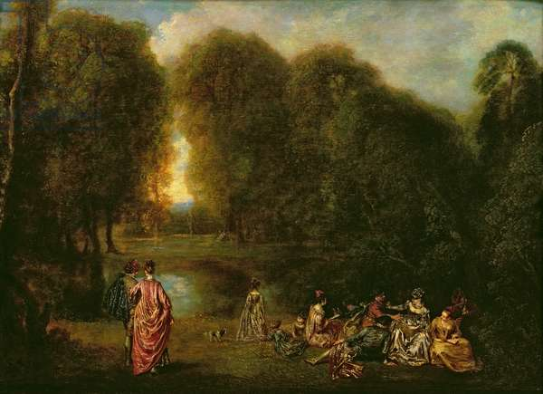 A Meeting in a Park (oil on panel)