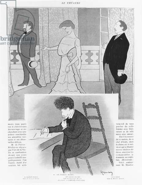 Caricature of the play 'La Passé', by Georges de Porto-Riche (litho)