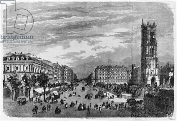 Paris, Boulevard de Sebastopol (engraving) (b/w photo)