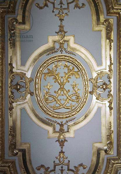 Interlaced Monogram of Louis XIV from the inside shutter of the King's Bedroom, c.1701 (gilded wood)