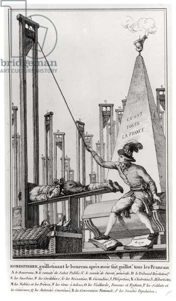 Maximilien de Robespierre (1758-94) Executing the Executioner (engraving) (b/w photo)