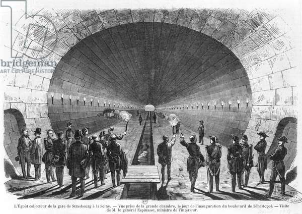 Main sewer from the Strasbourg Station to the Seine. Official visit of the Minister of Interior, General Charles Marie Esprit Espinasse (1815-59) April 1858 (engraving) (b/w photo)