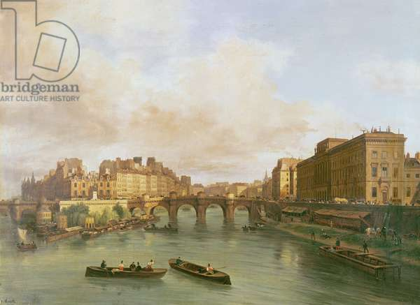 The Pont Neuf, Ile de la Cite, Paris Mint and Conti Quay, 1832 (oil on canvas)