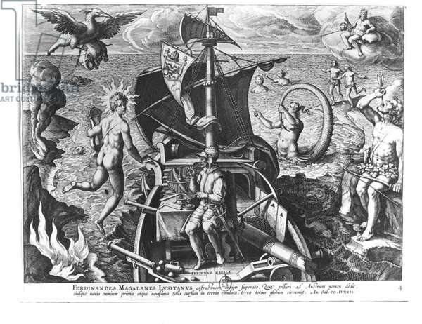 Ferdinand Magellan (c.1480-1521) on board his caravel, 1522 (engraving) (b/w photo)
