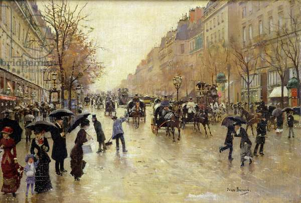 Boulevard Poissonniere in the Rain, c.1885 (oil on canvas)