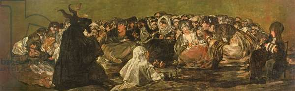 """The Witches' Sabbath or The Great He-goat, (one of """"The Black Paintings""""), c.1821-23 (oil on canvas)"""