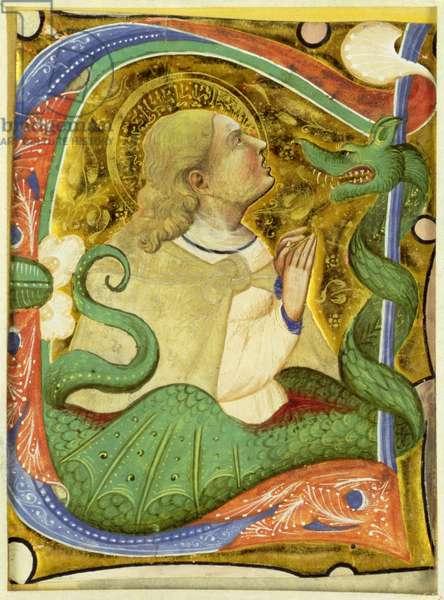 Historiated initial 'C'? depicting St. Margaret (vellum)