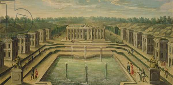 The Chateau and Pavilions at Marly from the perspective of the gardens, early eighteenth century (oil on canvas)