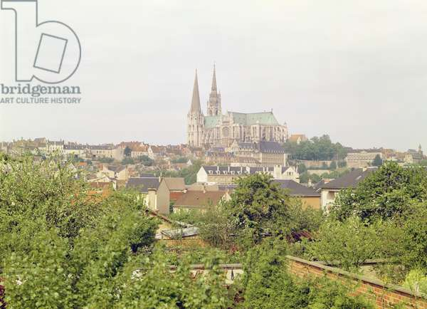 View of Chartres Cathedral, from the south-east, begun 1194 (photo)