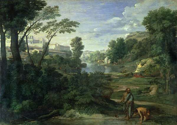 Landscape with Diogenes, 1648 (oil on canvas)