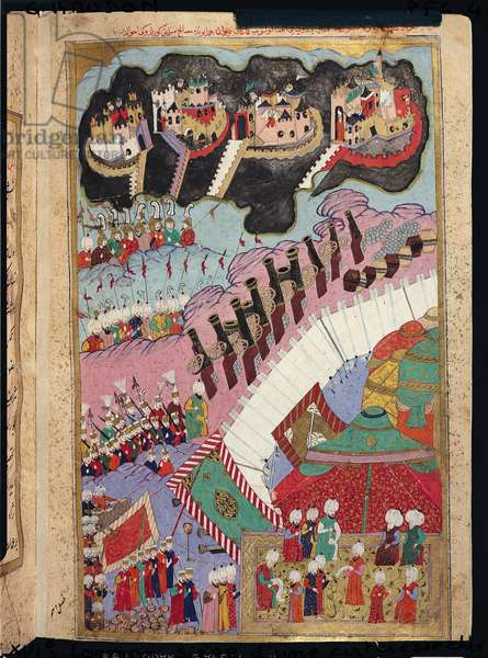 TSM H.1524 The Forces of Suleyman the Magnificent (1484-1566) Besieging a Christian Fortress, from the 'Hunername' by Lokman, 1588 (gouache on paper) (see also 182451)