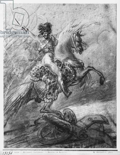 Officer of the Hussars on horseback (black pencil & blue pastel & white highlights on paper)