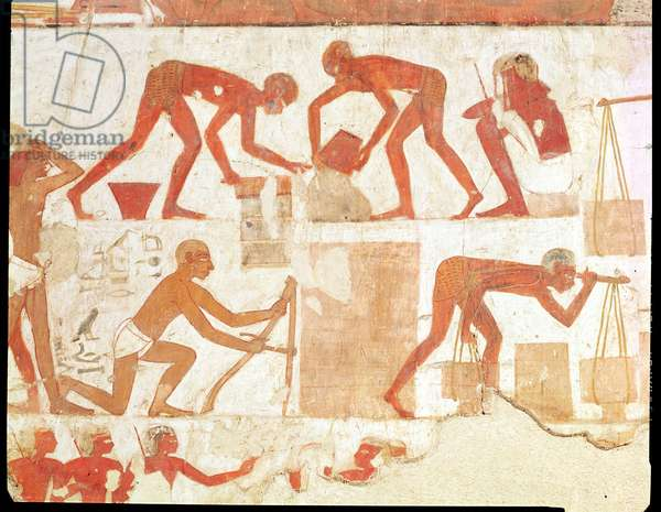 Construction of a wall, from the Tomb of Rekhmire, vizier of Tuthmosis III and Amenhotep II, New Kingdom (wall painting) (see 202228 for detail)