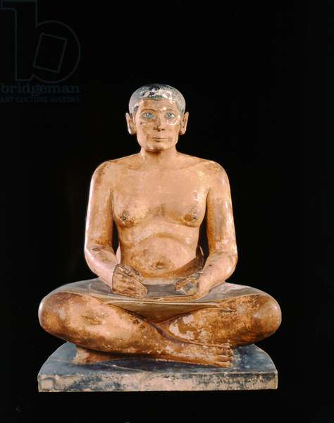 Crouching Scribe Statue, from Saqqara, Old Kingdom (limestone, alabaster & rock crystal) (see also 391129)